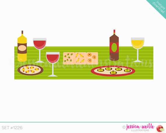 Wine clipart tapa Cute  Il_570xn Table Instant
