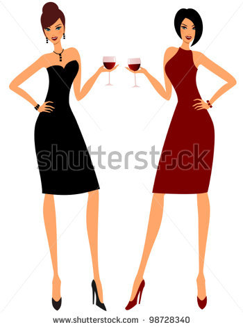 Wine clipart two Women young Women holding glasses