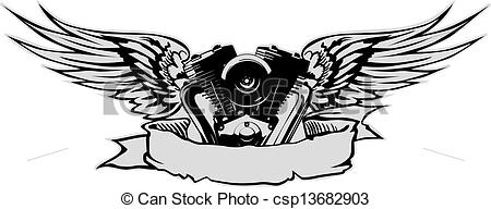Biker clipart wing Wings with gray with engine