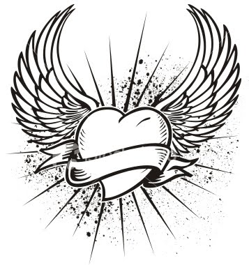 Wings clipart black heart Free  Download Designs Free