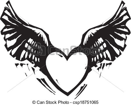 Wings clipart black heart White White Heart Black Art