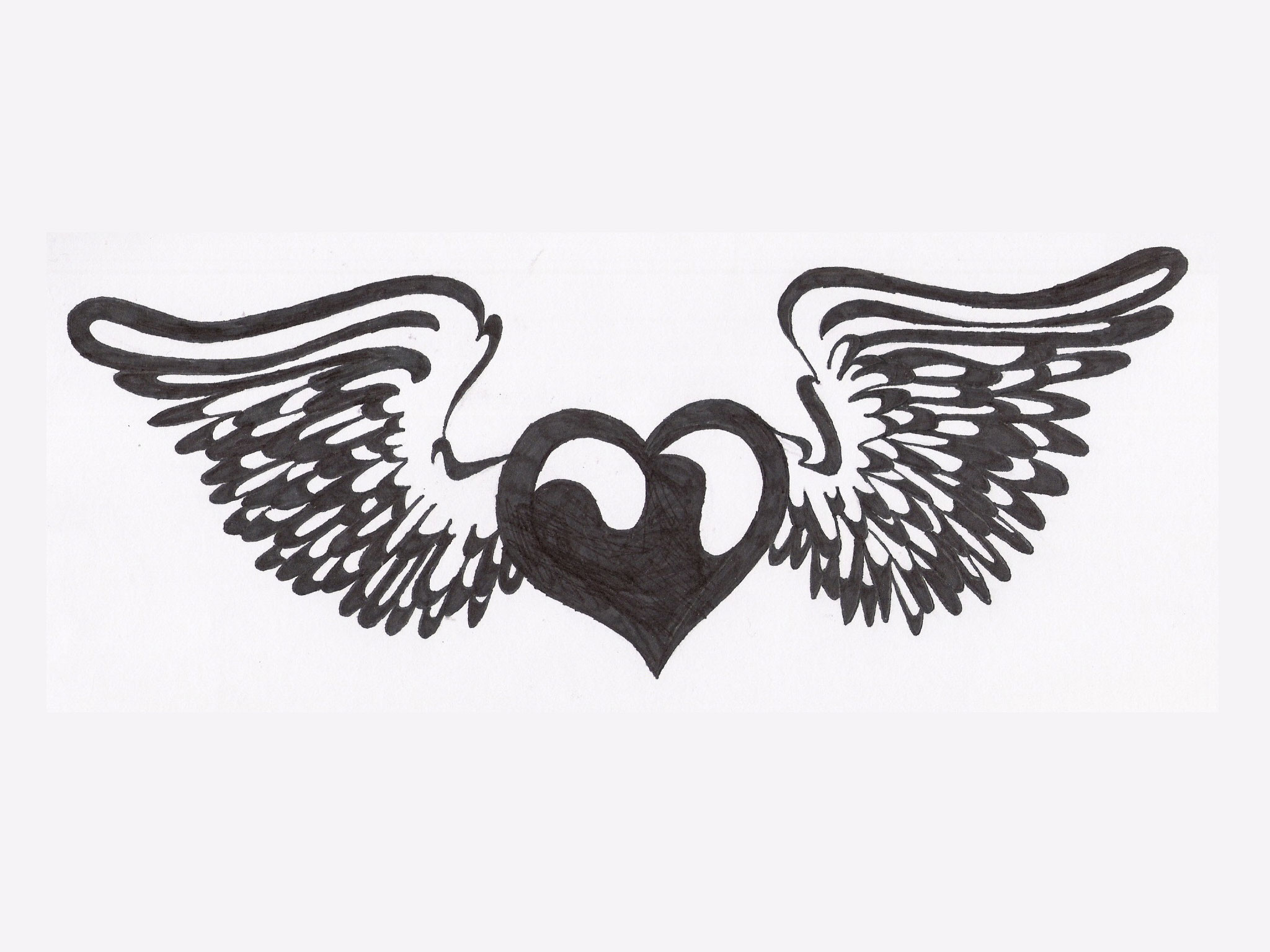 Wings clipart black heart Heart Pinterest White heart Black