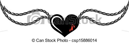 Wings clipart black heart Of wings heart with Clip