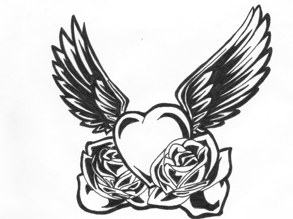 Wings clipart black heart Free Wings Hearts With Design