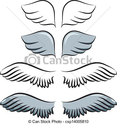 Wings clipart cartoon And of set Contour cartoon