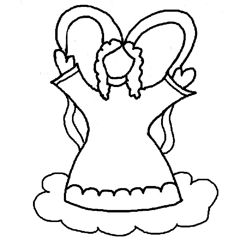 Angel clipart coloring page #6