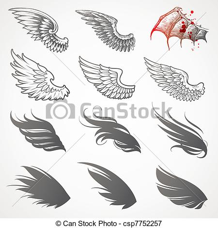 Wings clipart decorative Vector Illustrations  Wings and