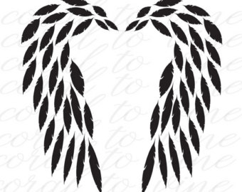 Wings clipart feather Etsy arrow file words feathers