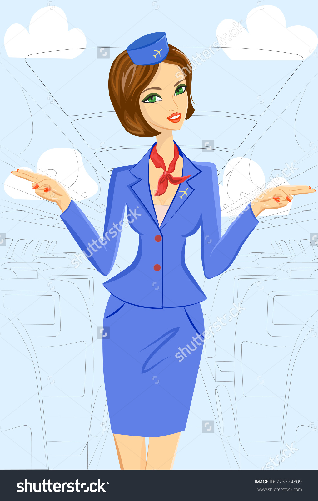 Wings clipart flight attendant Cheerful In Cheerful Blue Attendant