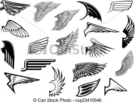 Wings clipart graphic design Set wings set Heraldic EPS