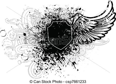 Wings clipart graphic design Design and wing shield Vectors