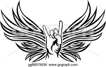 Wings clipart rock and roll Rock wings  with Vector