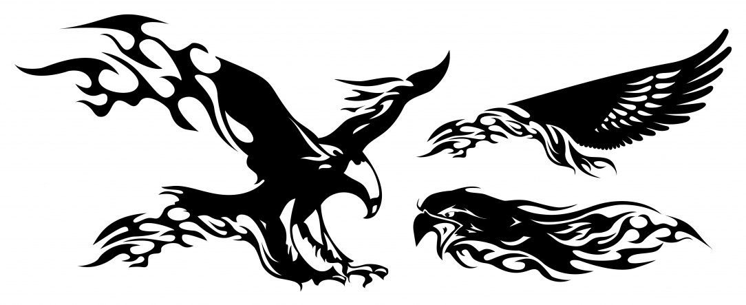 Black Eagle clipart black and white On Fire Tattoo Clipart Clip