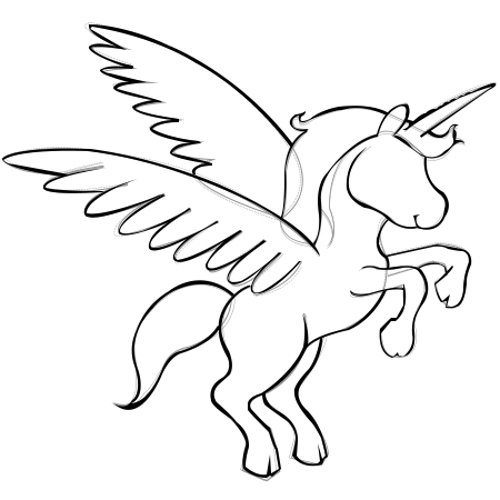 Wings clipart unicorn Unicorn Stepstep A com Outline