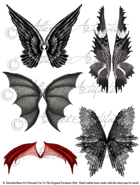 Wings clipart vintage Wicked Wicked Enchanted Dragon Collage