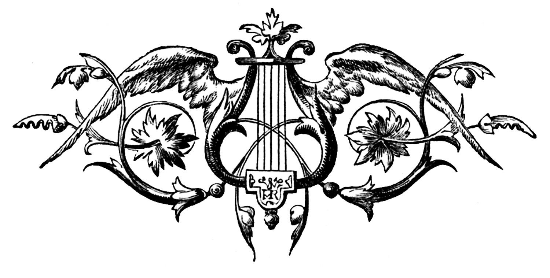 Wings clipart vintage Harp Art Vintage an in