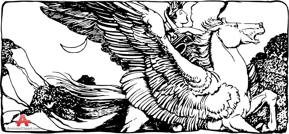 Wings clipart vintage Free Man Horse Drawing Wings