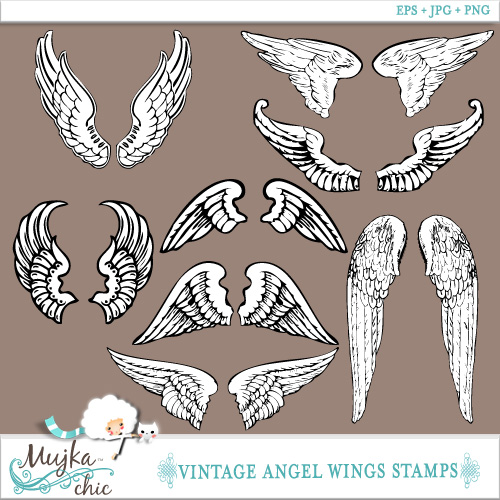 Wings clipart vintage Art  Angel 4 clip