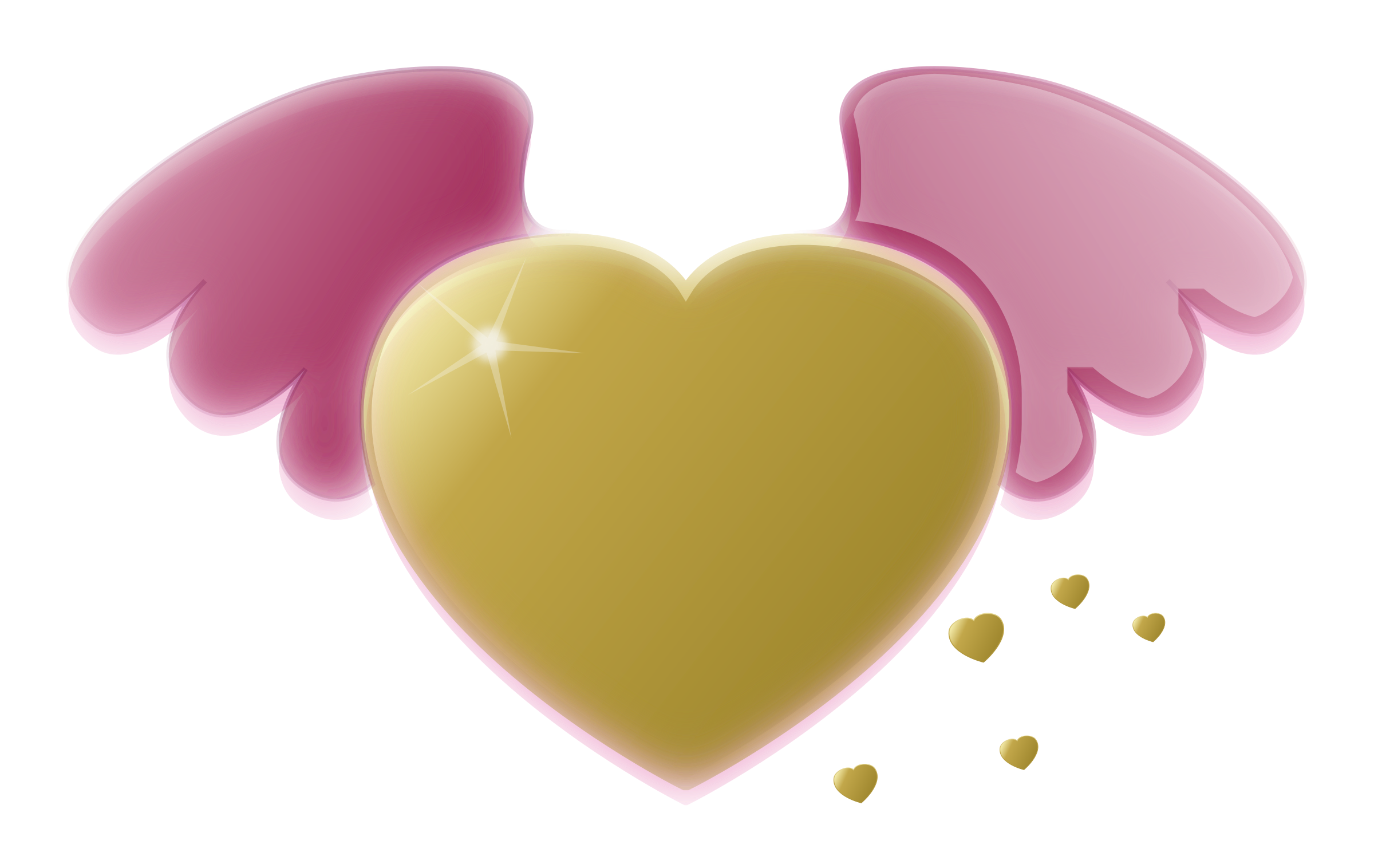 Wings clipart winged heart Wings Heart Gold Pink Clipart