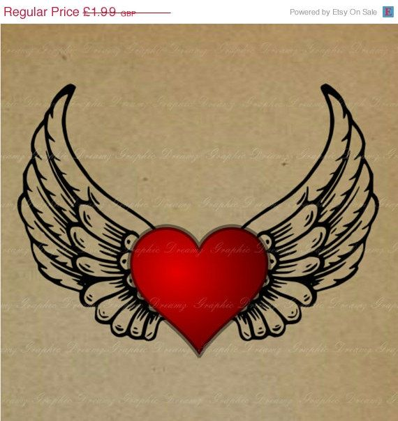Wings clipart winged heart Transfer heart/memorial Heart a Winged