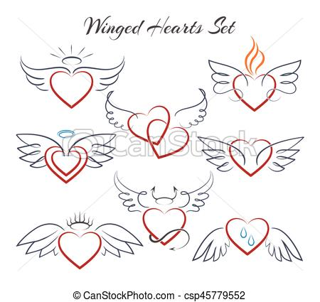 Wings clipart winged heart Vector wings Winged with Vector