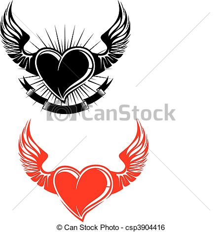 Wings clipart winged heart Wings with Heart with Art