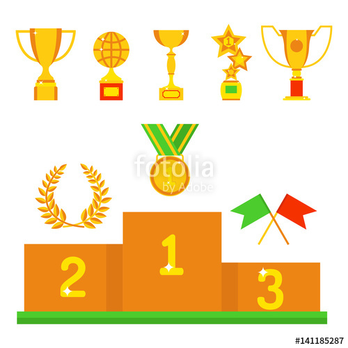 Winning clipart prize distribution Victory award flat winner and