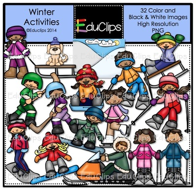 Winter clipart activites  Art Bundle on Winter