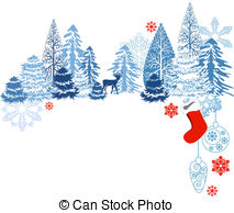 Winter clipart banner Deer  trees and