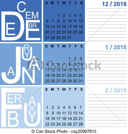 Winter clipart calendar December february Vector calendar january