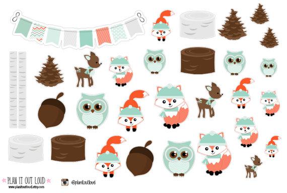 Winter clipart creature Creature  Woodland stickers) Creature