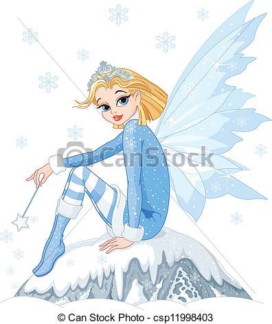 Winter clipart creature Fairy  Winter sitting Beautiful