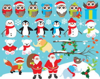 Winter clipart elephant Owls clipart penguins holiday clip