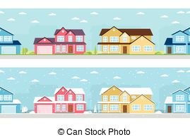 Winter clipart neighborhood And landscape and Illustrations Stock