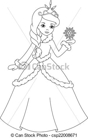 Winter clipart princess Coloring of page Illustration