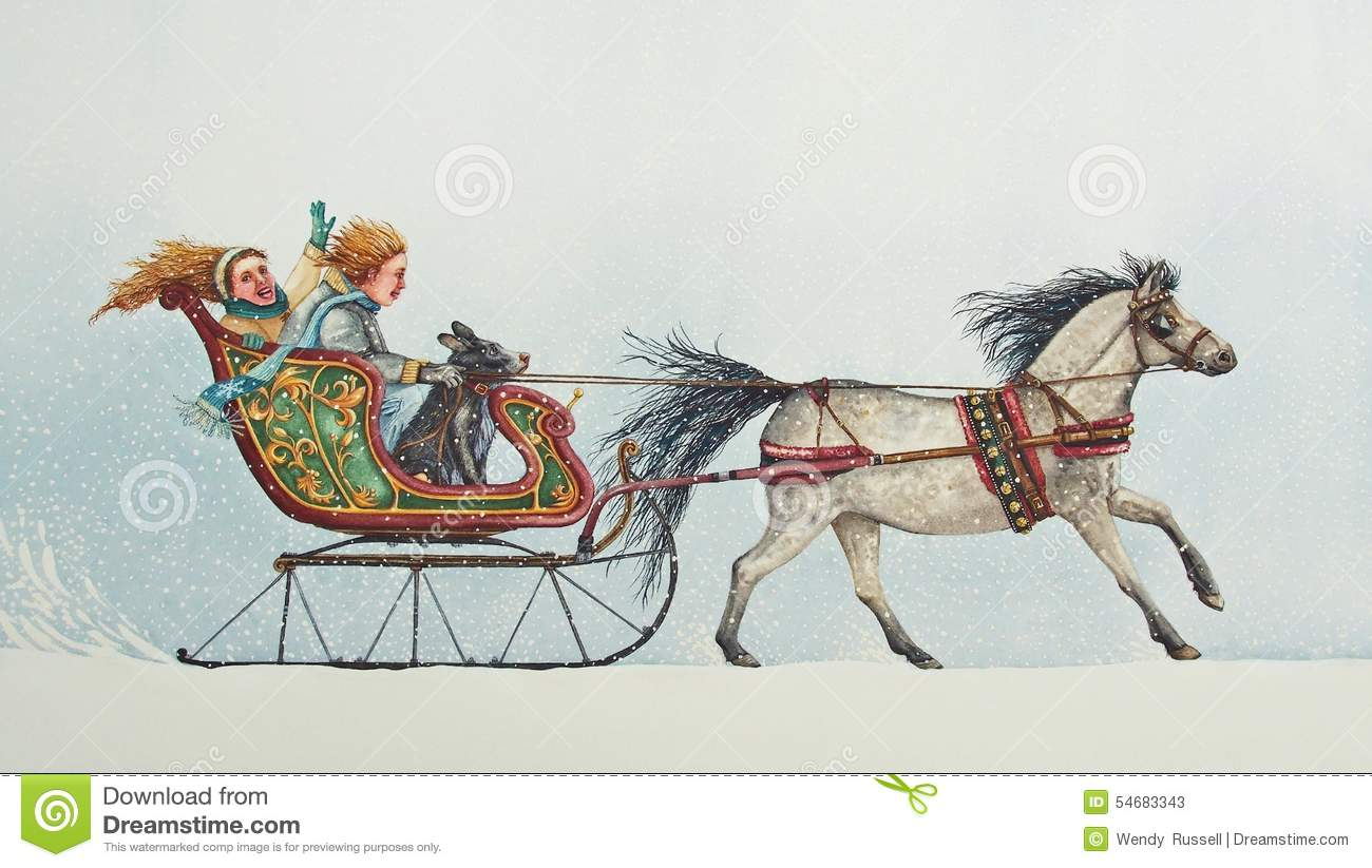 Winter clipart sleigh ride Clipart Horse sleigh ride pup