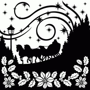 Winter clipart sleigh ride Silhouette Design ride Store