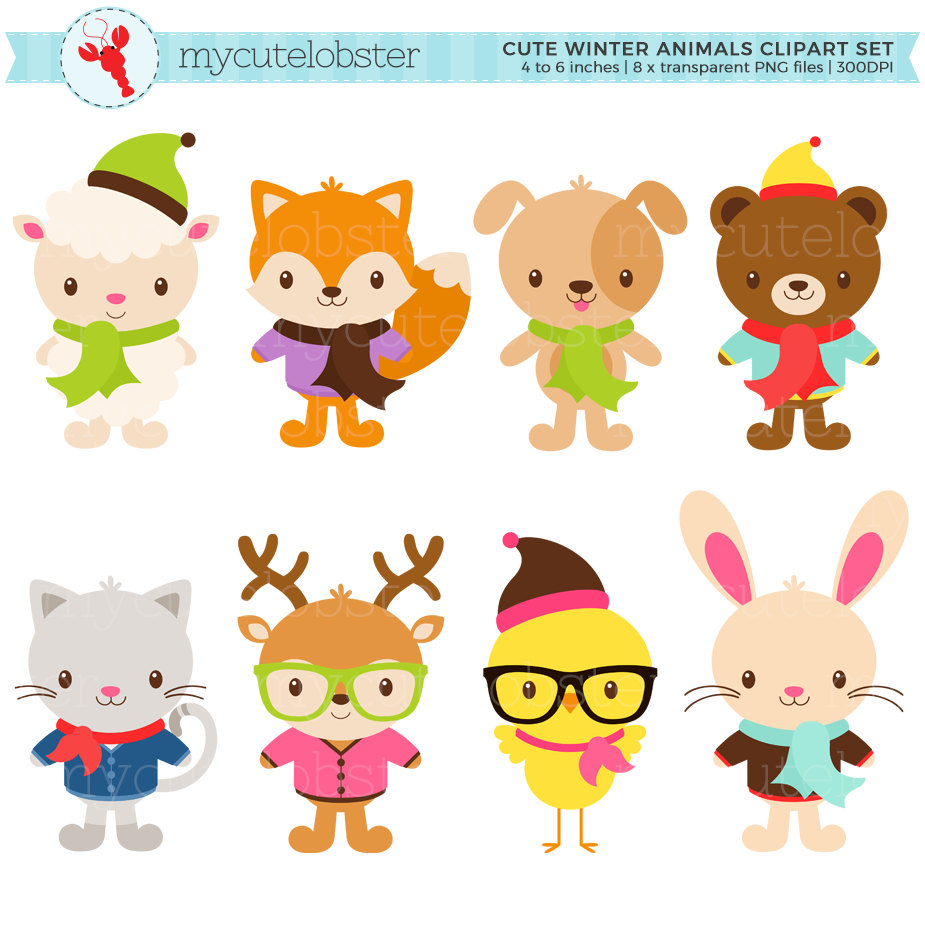 Winter clipart winter animal Hipster Clipart fashion animals Animals