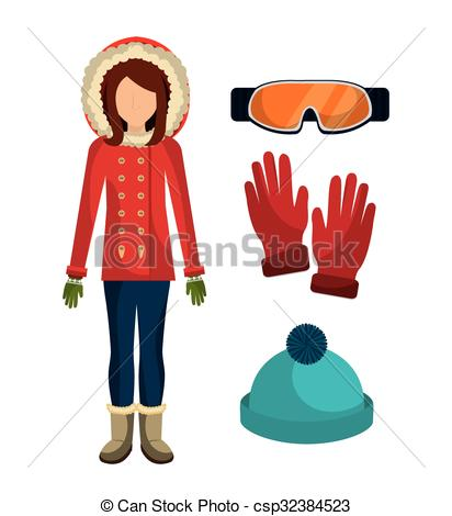 Winter clipart winter outfit Winter accesories Vector clothes clothes