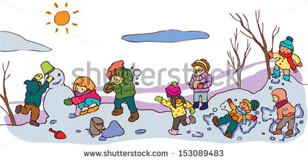 Winter clipart winter time Winter Children landscape good with