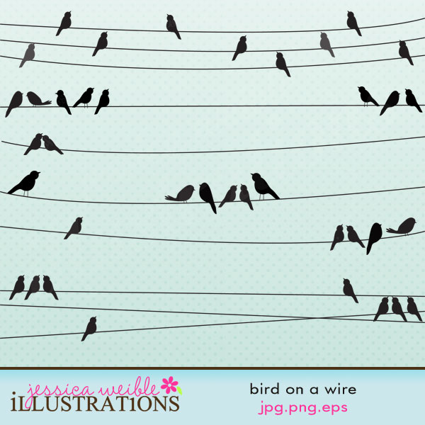 Wire clipart line Set Bird comes a with
