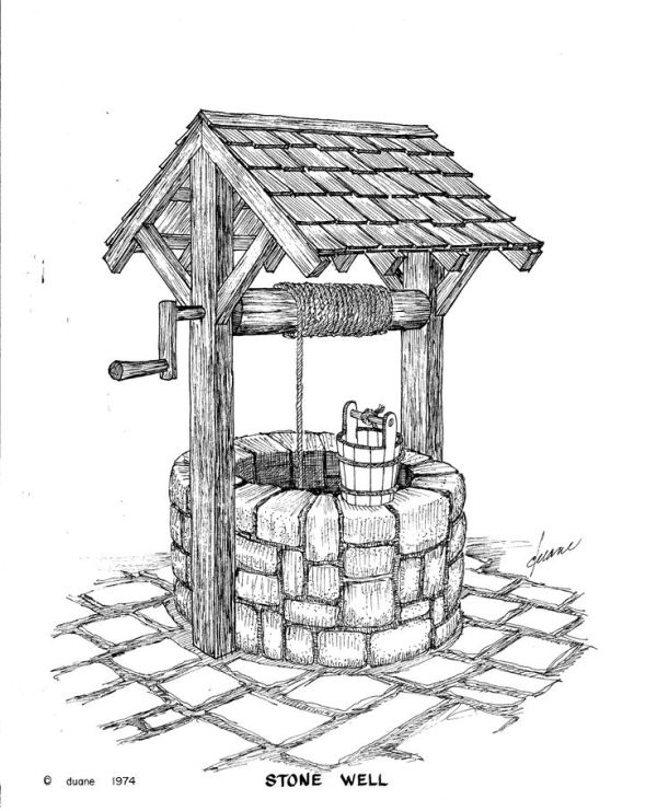 Wishing Well clipart water well Well and crank Vintage well