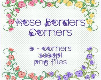 Wisteria clipart border Floral Instant Corners Clipart Border
