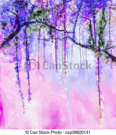 Wisteria clipart painting Spring flowers flowers painting Wisteria
