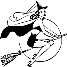 Witchcraft clipart black and white Art and Clipart Halloween Witch