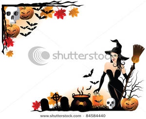 Witch clipart border Halloween Image Clipart A with
