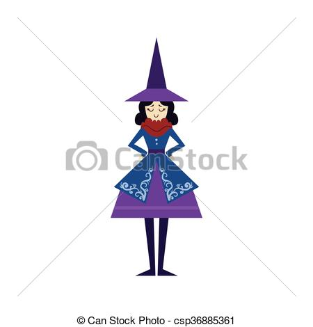 Witch clipart fairytale Flat Drawing Fairytale Vector csp36885361