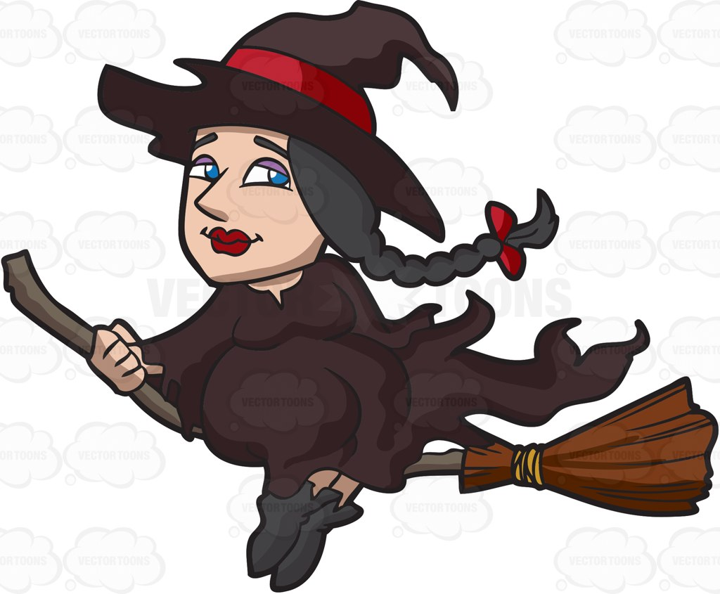 Brown clipart broom Broom with woman hair A