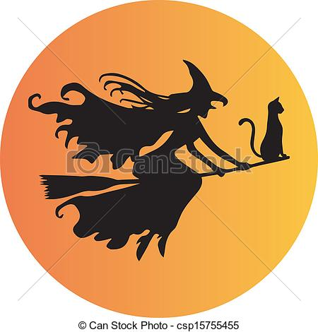 Witch clipart orange On a on Witch Broomstick