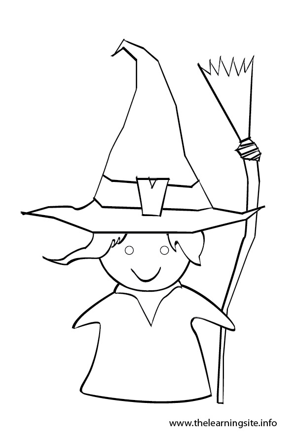 Witch clipart outline Page witch outline Learning The